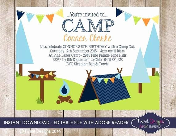 Camping Invitations Templates Free Unique Camping Invitation Instant Download by Tweetpartyprintables