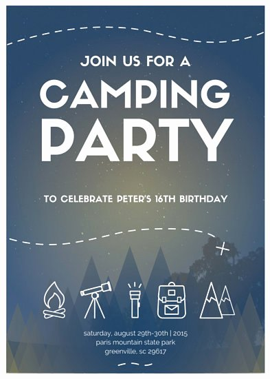 Camping Invitations Templates Free Unique Night Sky Camping Party Invitation Templates by Canva
