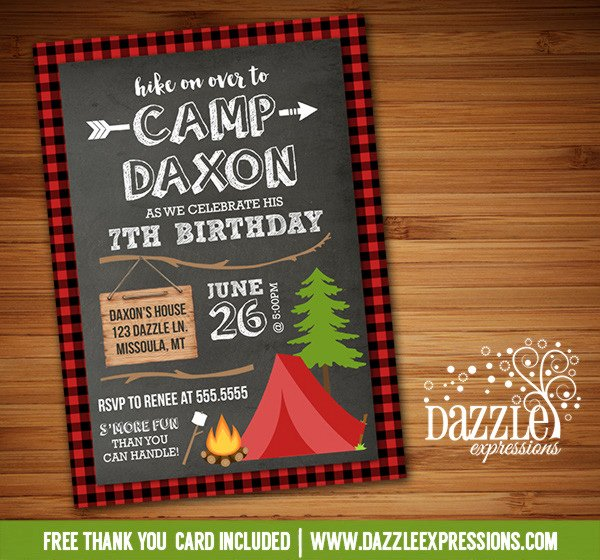 Camping Invitations Templates Free Unique Printable Chalkboard Plaid Camping Birthday Invitation Rustic Outdoors Party