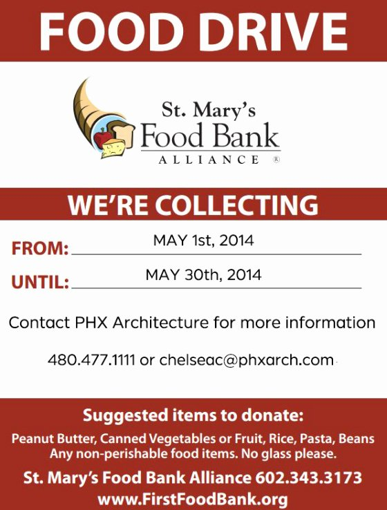 "Can Food Drive Flyer Lovely Giving Back Phx Will Be Hosting A Food Drive In May – ""we Can 'may Ke' A Difference """