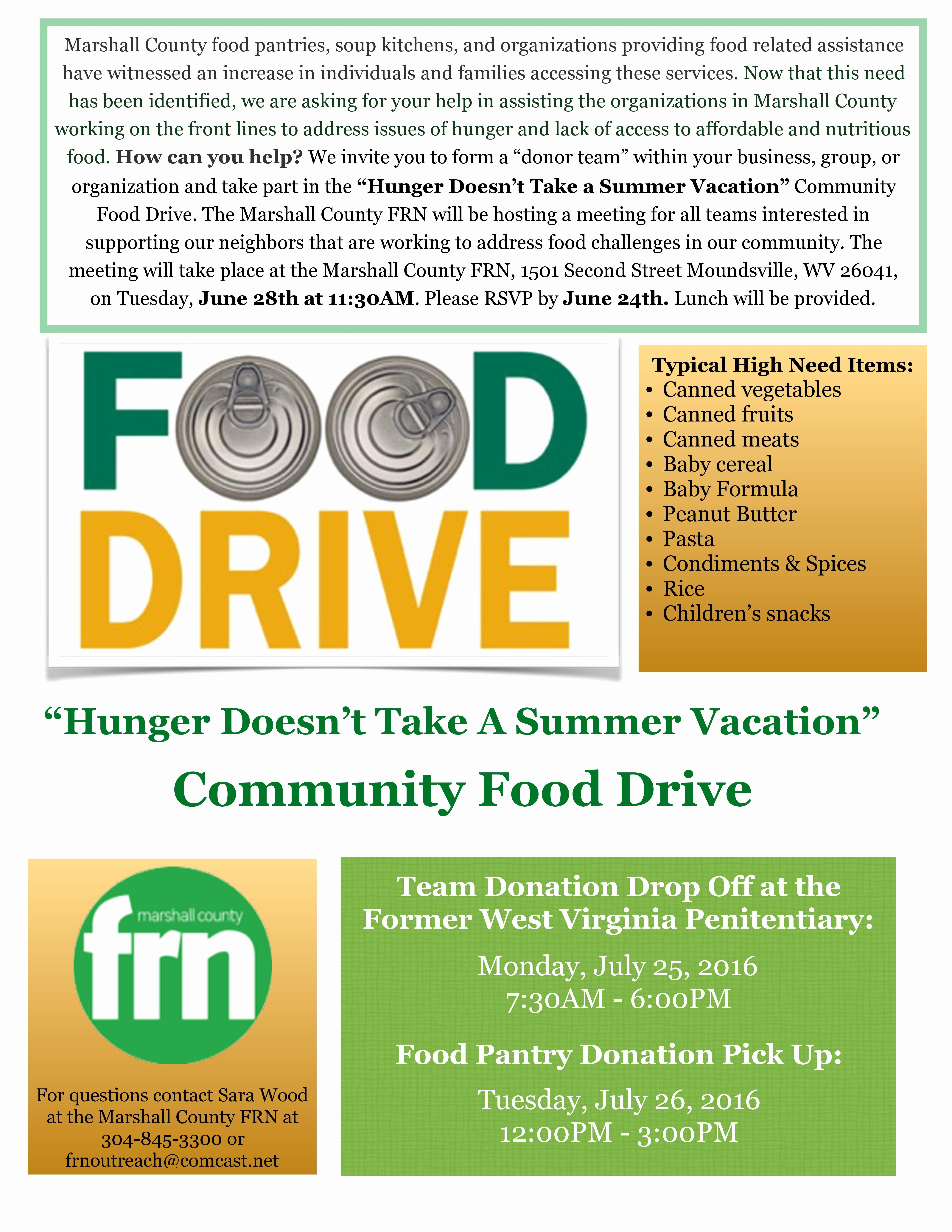Can Food Drive Flyer Lovely Marshall County Frn organizing Munity Food Drive