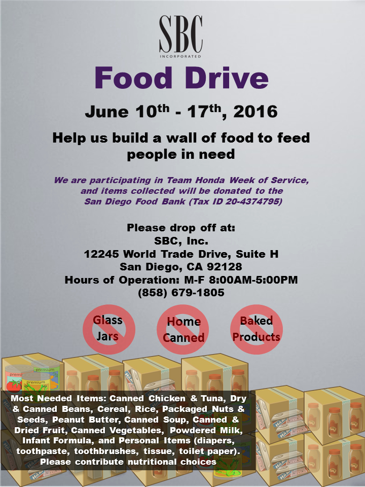 Can Food Drive Flyer New Food Drive – Sbc Inc