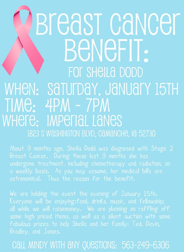 Cancer Benefit Flyer Ideas Beautiful Benefit for Sheila Dodd Breast Cancer Benefit Flyer