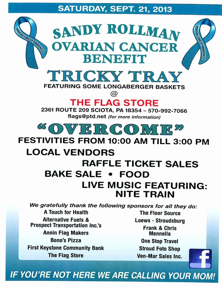Cancer Benefit Flyer Ideas Best Of Our Flyer for This Years event Sandy Rollman Ovarian Cancer Foundation Fundraiser