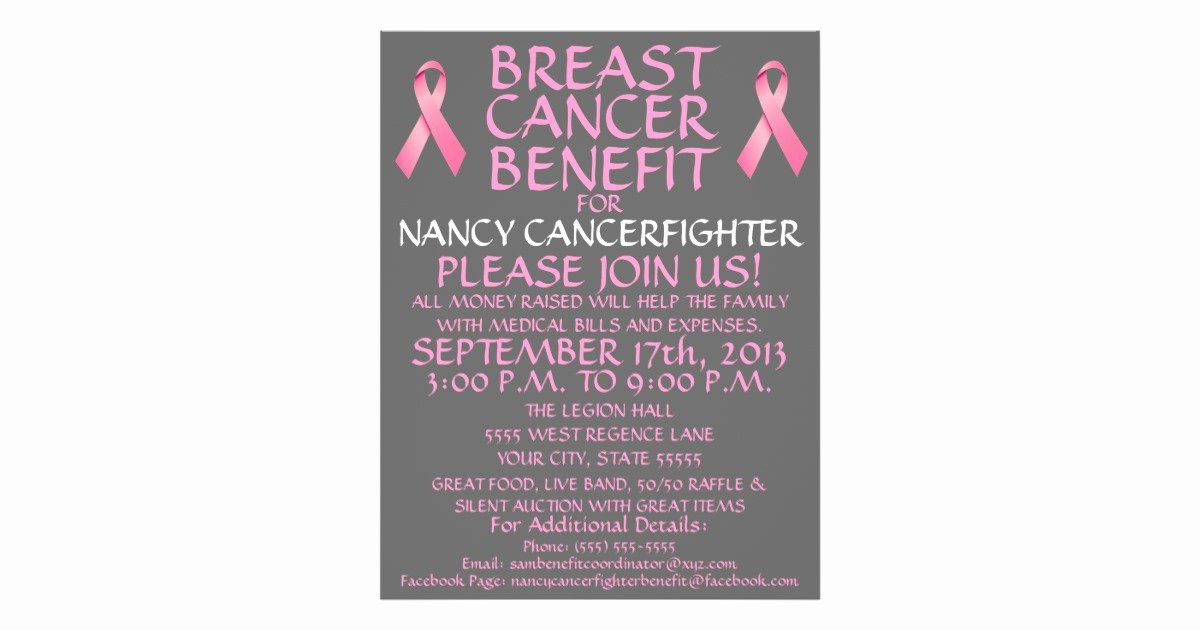 Cancer Benefit Flyer Ideas Elegant Breast Cancer Fighter Benefit Flyer