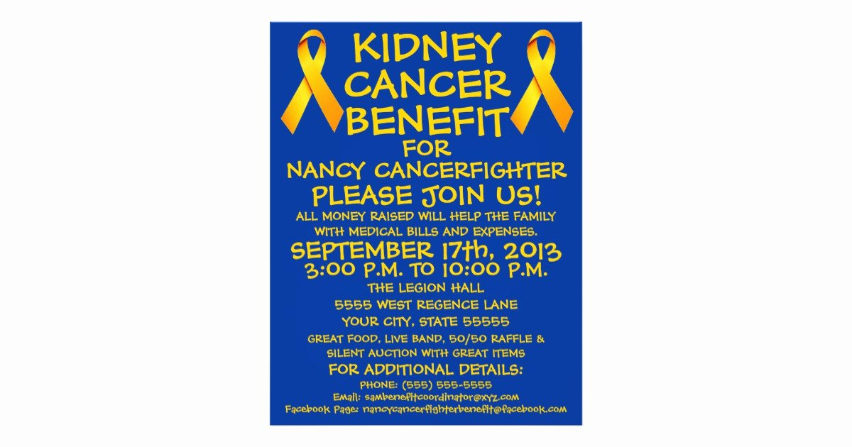 Cancer Benefit Flyer Ideas Elegant Kidney Cancer Benefit Flyer