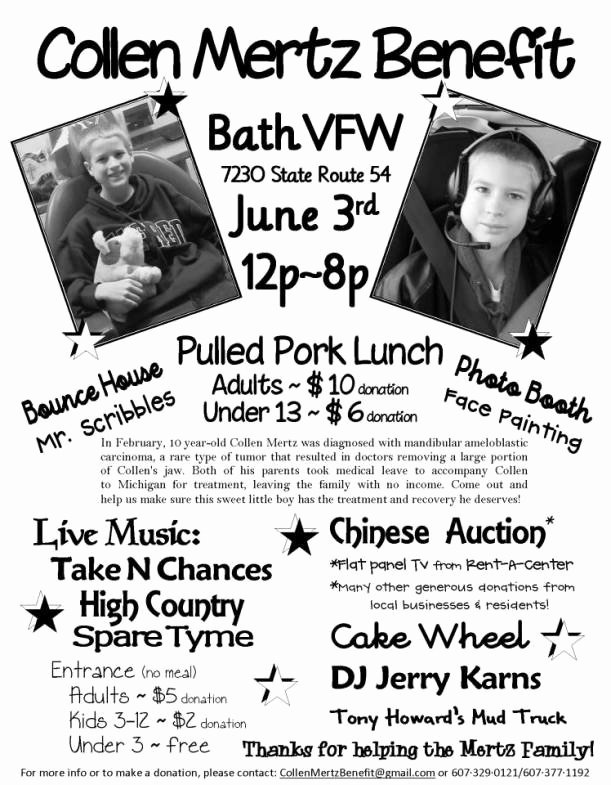 Cancer Benefit Flyer Ideas Unique June 3rd Benefit for 10 Year Old Bath Boy Diagnosed with Cancer Collen Mertz Benefit