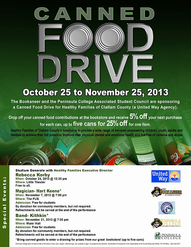 Canned Food Drive Flyer Awesome Canned Food Drive