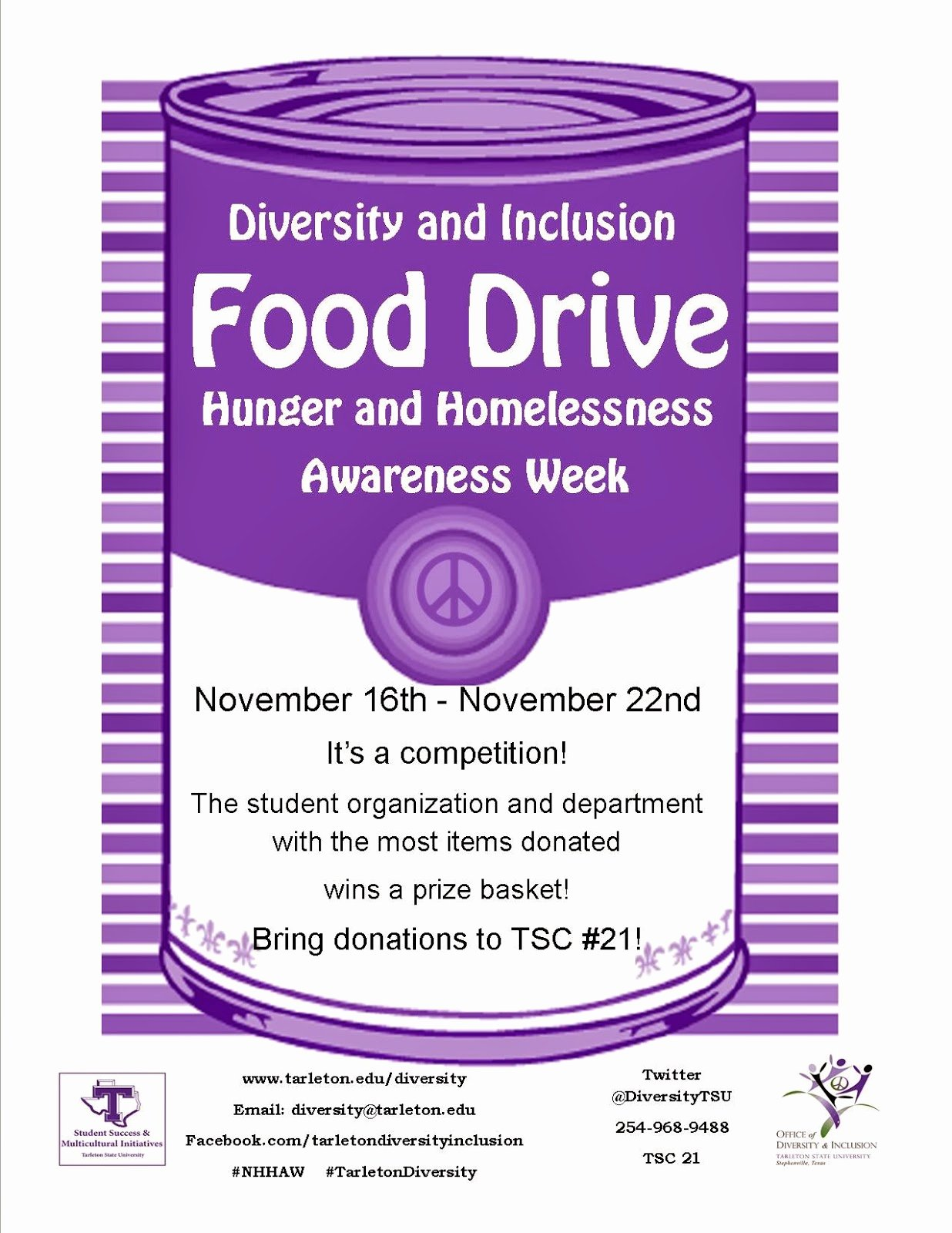 Canned Food Drive Flyer Awesome Diversity and Inclusion Tarleton State University November 2013