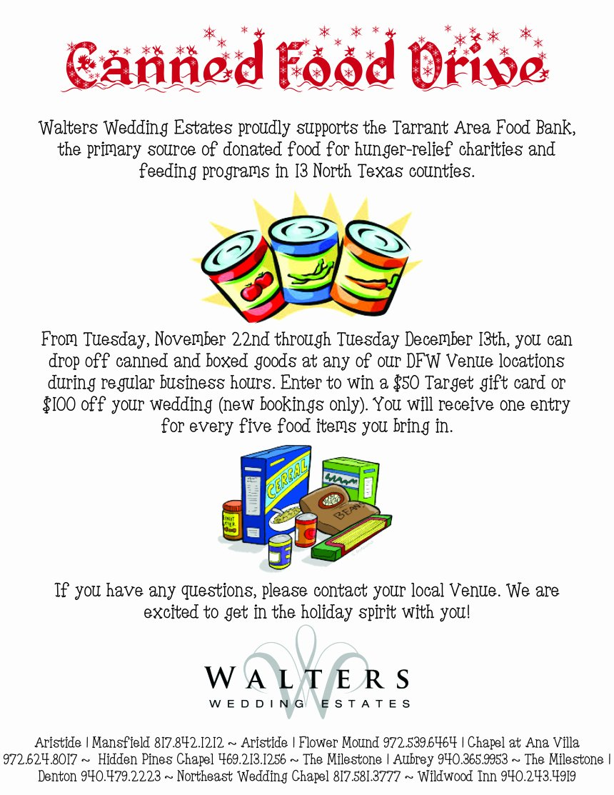 Canned Food Drive Flyer Inspirational Canned Food Drive – Chance to Win Season Of Giving – Walters Wedding Estates – Texas Wedding