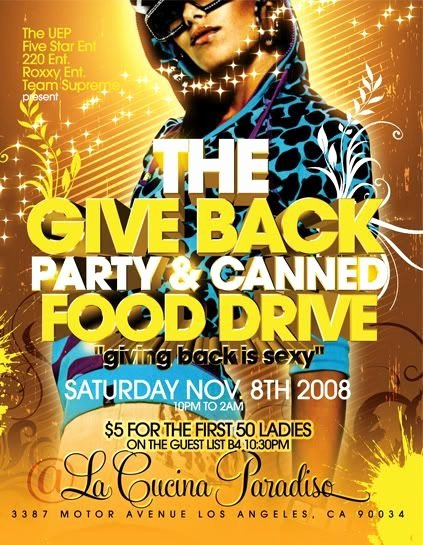 Canned Food Drive Flyer Inspirational Flier Shrine Give Back Party & Canned Food Drive Flyer