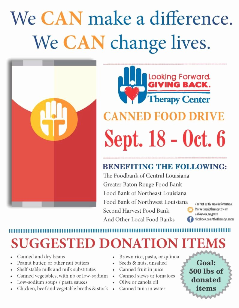Canned Food Drive Flyer Inspirational the therapy Center