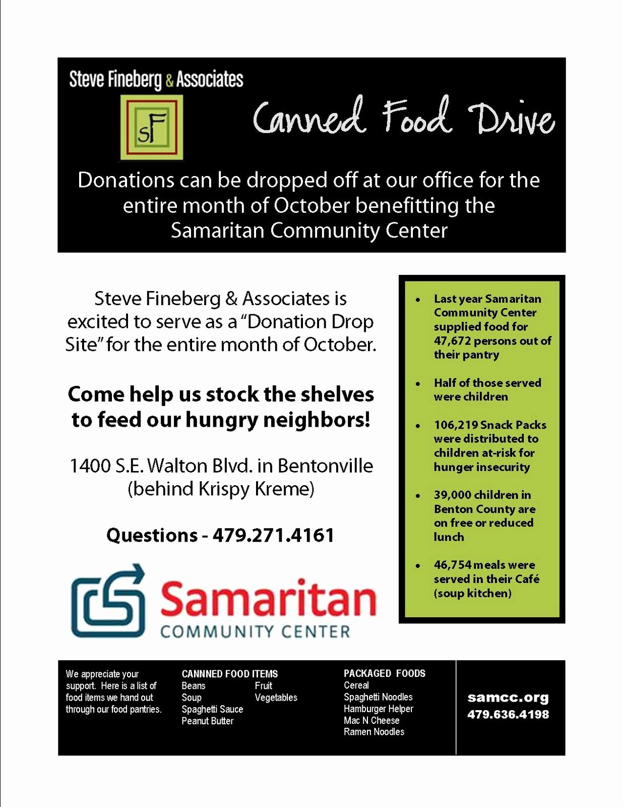 Canned Food Drive Flyer Lovely Steve Fineberg & associates Corporate Responsibility Fighting Hunger In northwest Arkansas