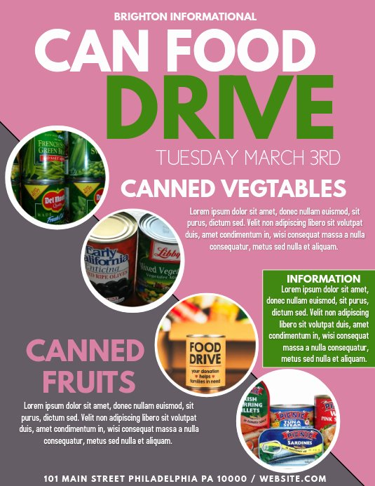 Canned Food Drive Flyer New Food Drive Template
