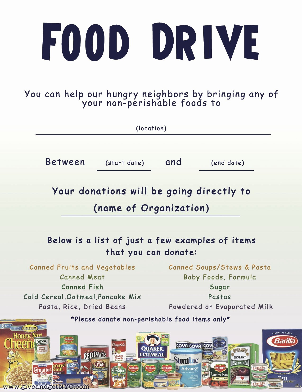 Canned Food Drive Flyer Template Lovely Flyers