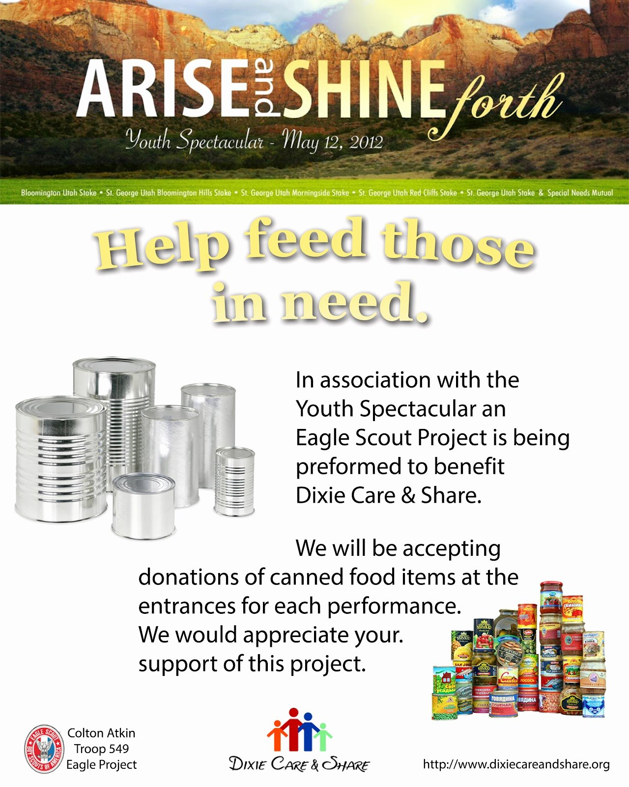 Canned Food Drive Flyer Template Luxury Arise & Shine forth 2012 Youth Spectacular Updated Flyer for Canned Food Drive