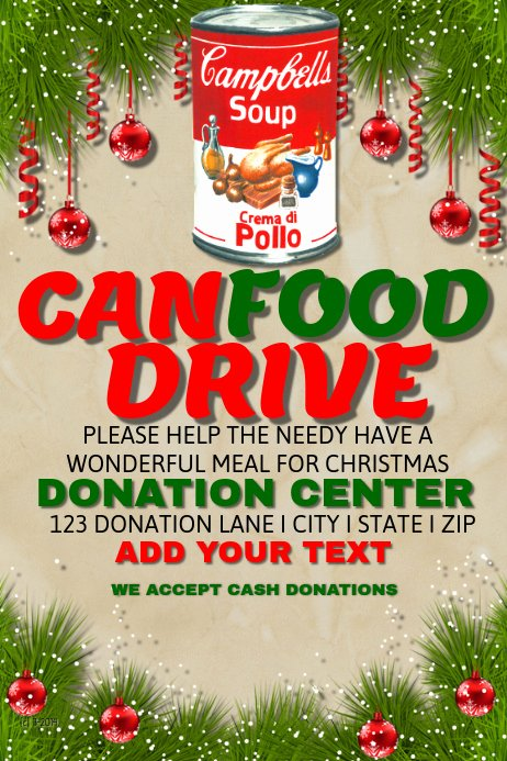 Canned Food Drive Flyer Template New Postermywall