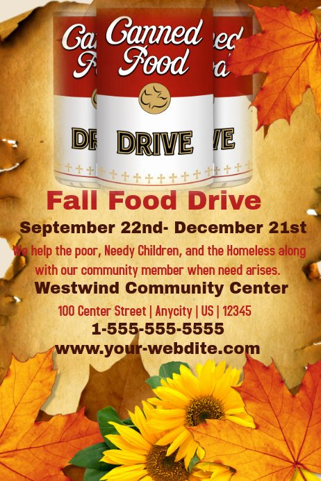 Canned Food Drive Flyer Template Unique Fall Food Drive Template