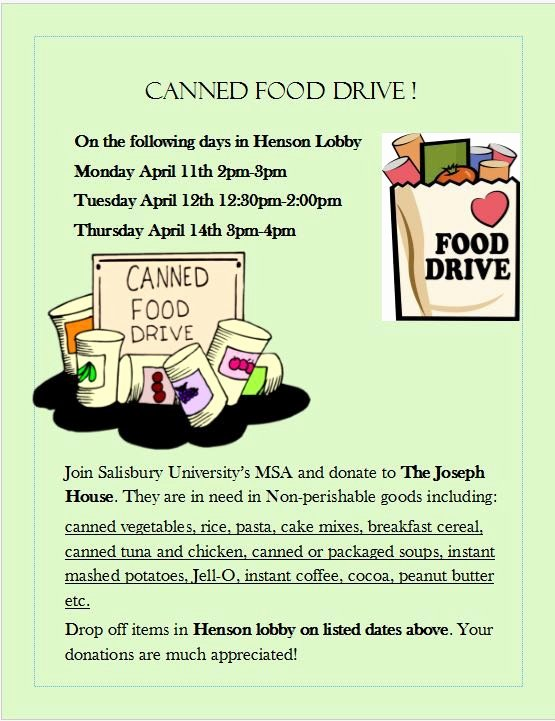Canned Food Drive Flyer Unique Salisbury University Muslim Students association