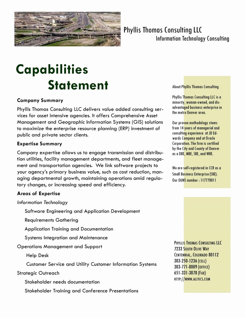 Capability Statement Template Doc Awesome Phyllis Thomas Consulting Capability Statement