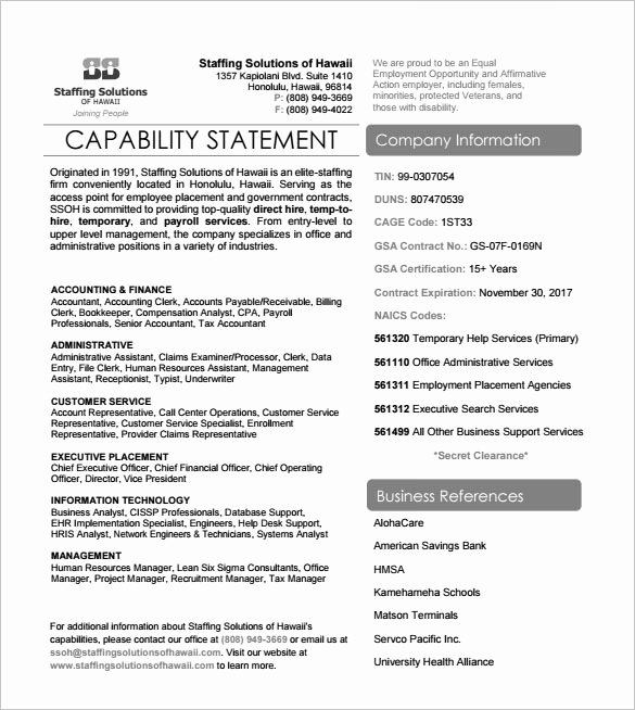 Capability Statement Template Doc Beautiful 14 Capability Statement Templates Pdf Word Pages