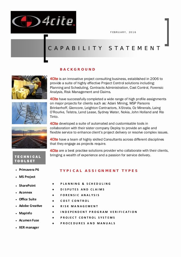 Capability Statement Template Doc Best Of 4cite Capability Statement Pdf