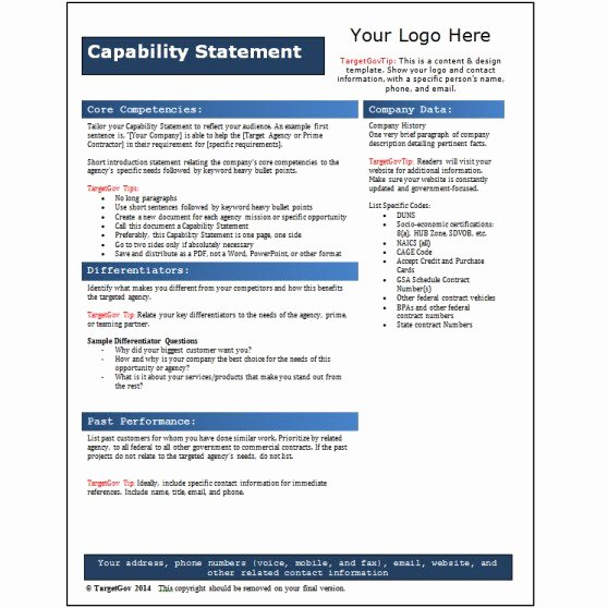 Capability Statement Template Doc New Capability Statement Template Word Document