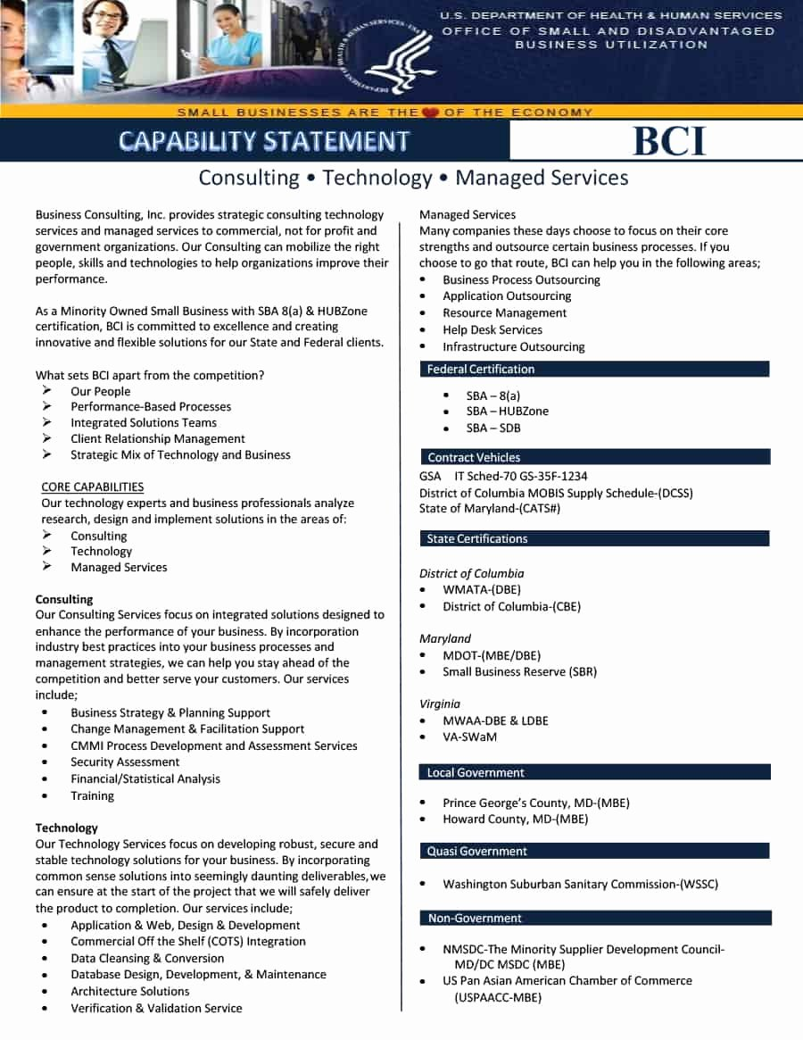 Capability Statement Template Doc Unique 39 Effective Capability Statement Templates Examples Template Lab