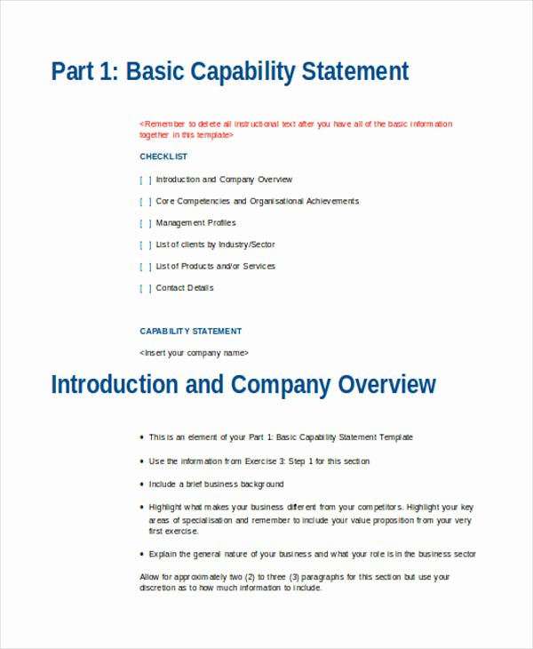 Capability Statement Template Doc Unique Free 34 Statement Examples In Doc