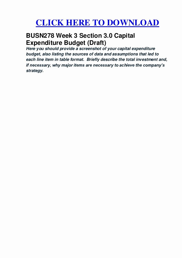 Capital Expenditure Budget Example Awesome Busn278 Week 3 Section 3 0 Capital Expenditure Bud Draft