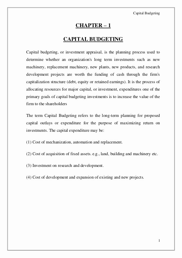 Capital Expenditure Budget Example Inspirational Capital Bud Ing