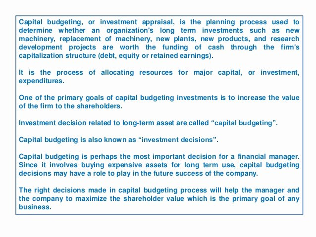 Capital Expenditure Budget Example New Capital Bud Ing