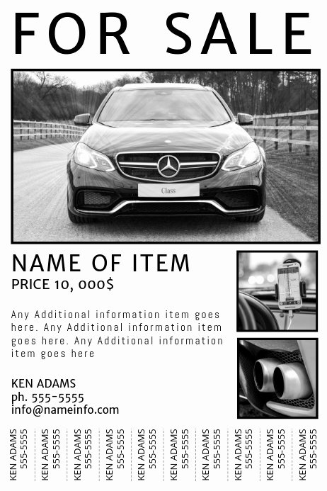 Car for Sale Template Free Awesome Free Printable for Sale Flyer with Tear Off Tabs Template