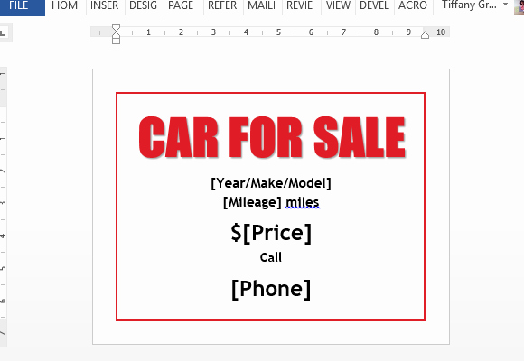 Car for Sale Template Free Beautiful Car Sale Flyer Template for Word