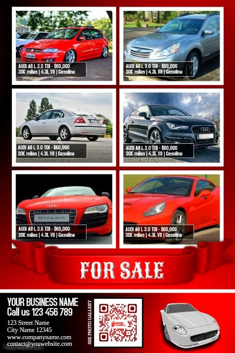Car for Sale Template Free Elegant Cars for Sale Flyer Moderne Design Template Color Red