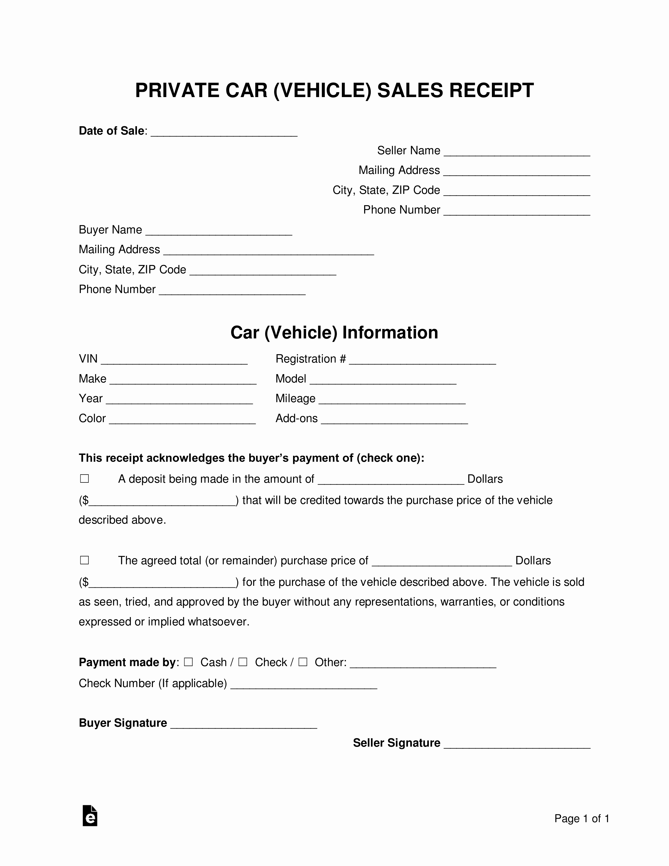 Car for Sale Template Free Elegant Free Vehicle Private Sale Receipt Template Pdf Word