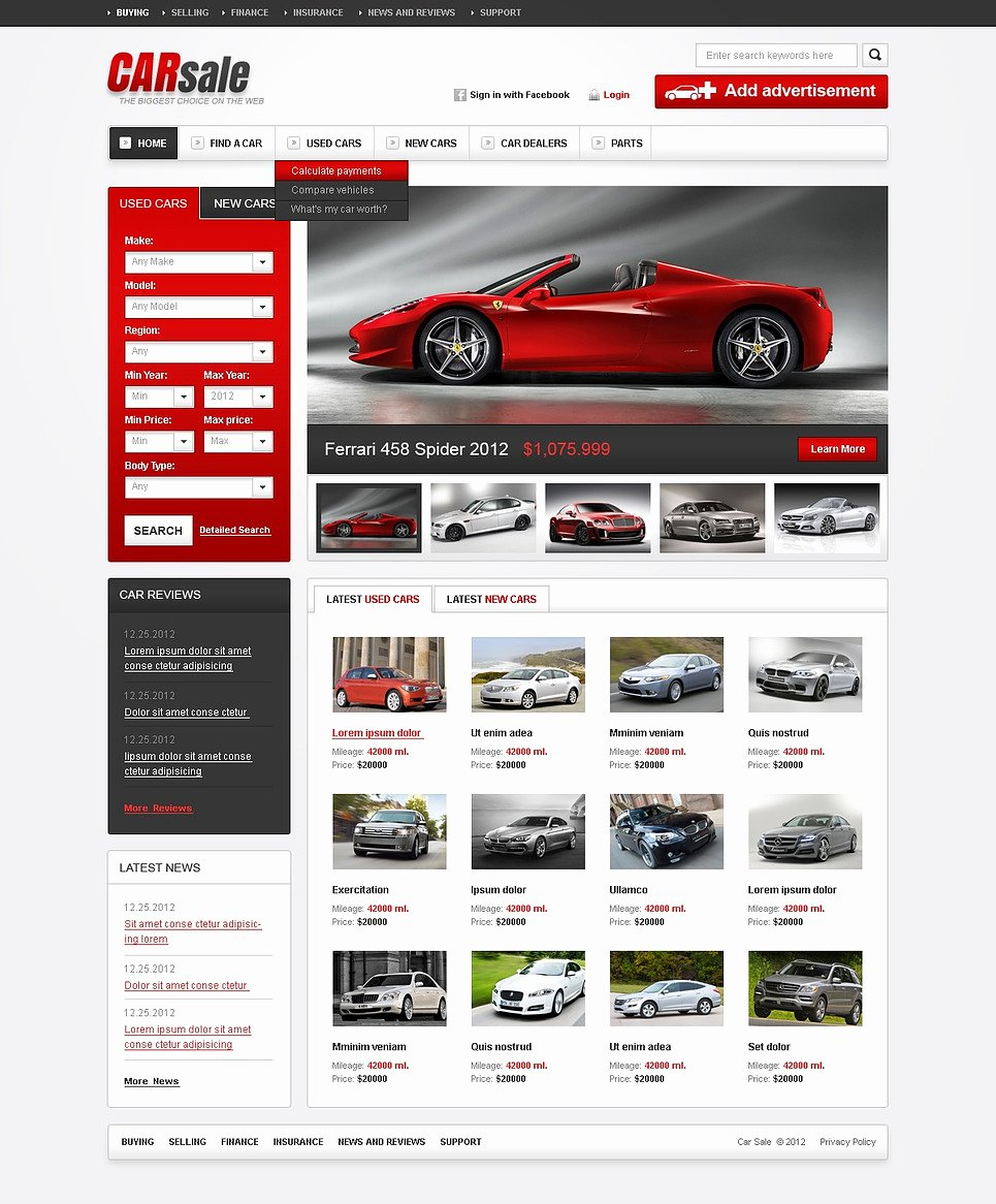 Car for Sale Template Free New Car Dealer HTML Cms Template
