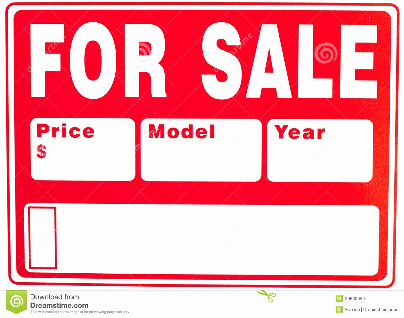 "Car for Sale Template Free Unique Sign ""for Sale"" with Extra Fields Stock Image Image Of Nobody Information"