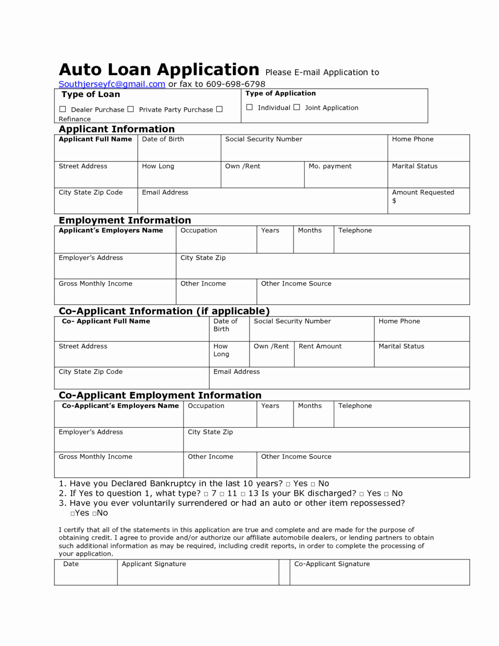 Car Loan Application form Pdf Awesome Auto Credit Application Template