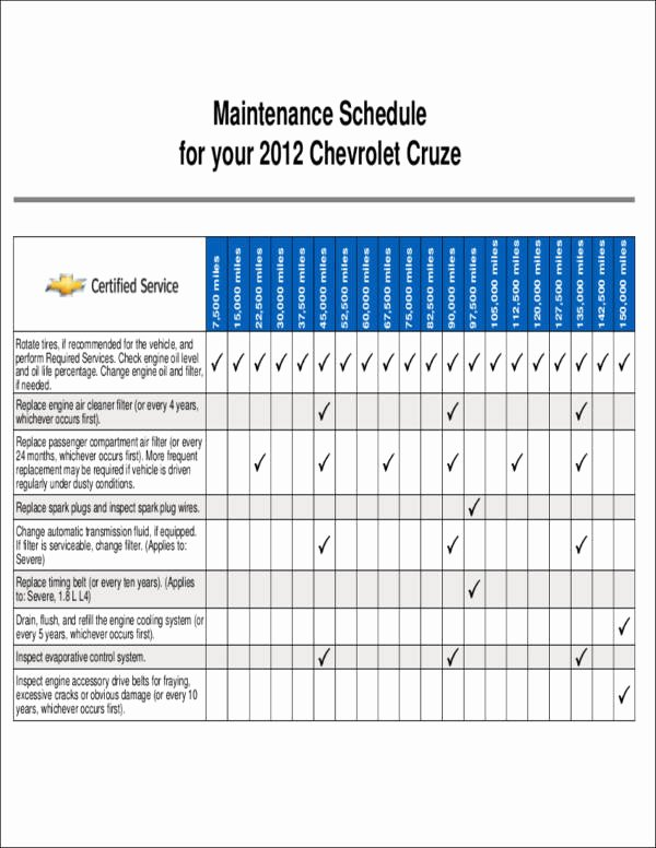 Car Maintenance Schedule Template Best Of Free 10 Vehicle Maintenance Schedule & Templates In Word