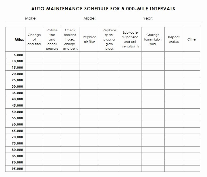 Car Maintenance Schedule Template Elegant Auto Maintenance Schedule Template Sample