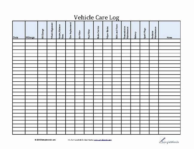 Car Maintenance Schedule Template Inspirational Vehicle Care Log Printable Pdf form for Car Maintenance