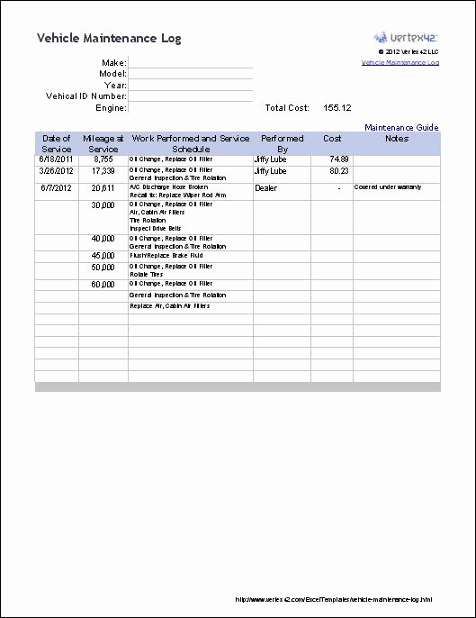 Car Maintenance Schedule Template Unique Keep Track Of Your Vehicle S Maintenance and Repairs with This Spreadsheet Template
