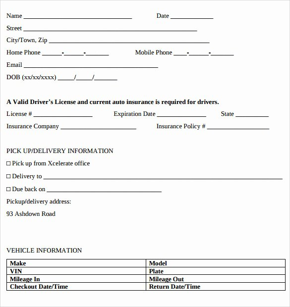 Car Rental Agreement form Elegant Car Rental Agreement Templates 12 Free Documents In Pdf Word