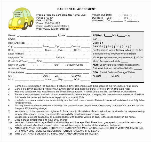 Car Rental Agreement form Inspirational Car Rental Agreement 12 Free Word Pdf Documents Download