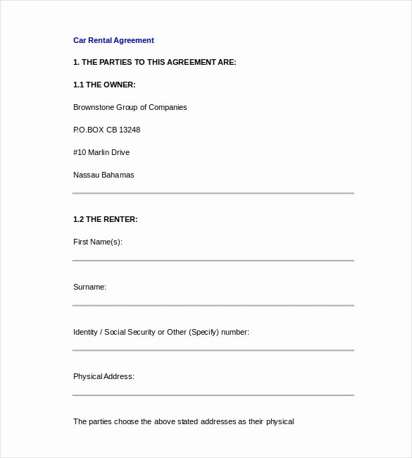 Car Rental Agreement form Inspirational Rental Agreement Template – 21 Free Word Pdf Documents Download