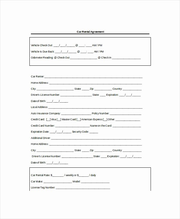 Car Rental Agreement form Luxury 13 Rental Agreement Templates Free Sample Example format Download