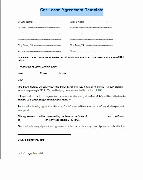 Car Rental Agreement form New Car Lease Agreement format Word and Pdf Excel Tmp
