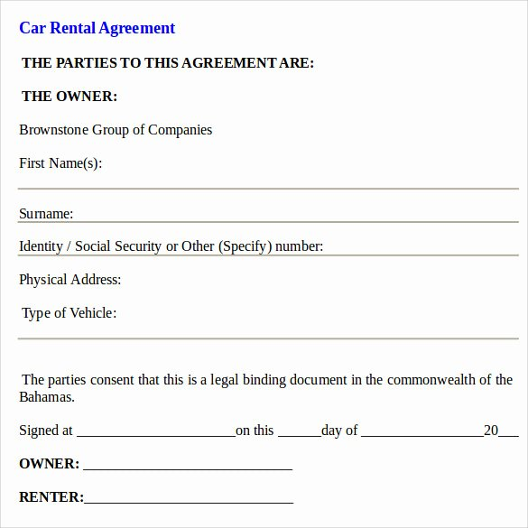 Car Rental Agreement form New Car Rental Agreement Templates 12 Free Documents In Pdf Word