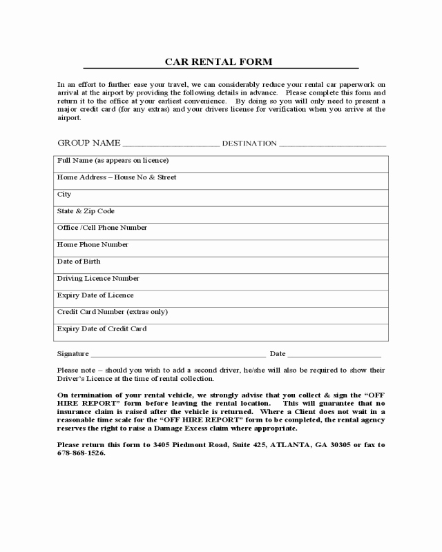 Car Rental Agreement form Unique 2019 Car Lease form Fillable Printable Pdf & forms